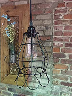 Large Flowering Cage Light with 15' of Cloth Covered Cord - In-line On/off switch and Plug