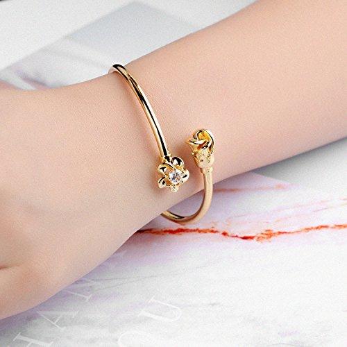LOHOME Women's Fashion Bracelets 18K Gold Tone Rose charm Open Bangle Cuff for Women by LOHOME (Image #6)