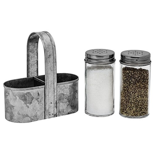 Farmhouse Salt and Pepper Caddy Set by Saratoga Home - Rustic Vintage Galvanized Decor - Weddings, Restaurants - 3-Piece Set - Easy to Clean, No-Mess Refilling