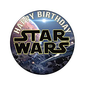 7.5 Inch Edible Cake Toppers – STAR WARS LOGO Themed Birthday Party Collection of Edible Cake Decorations