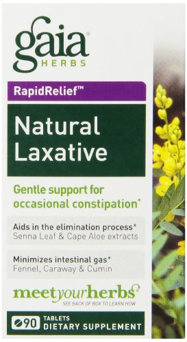 Gaia Herbs Rapidrelief Natural Laxative Tablets, 90 Count (Pack of 2)