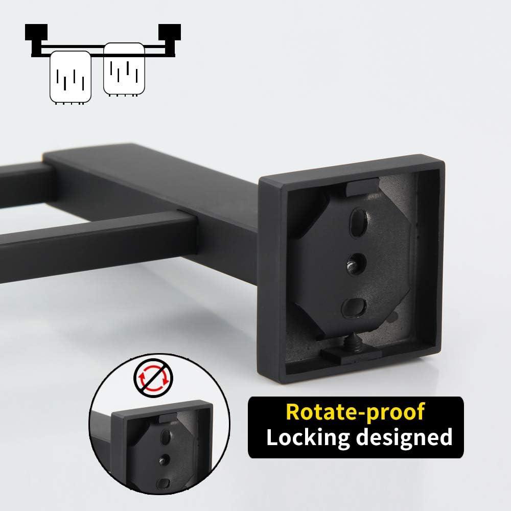 4-Piece Bathroom Accessory Set Matte Black SUS 304 Stainless Steel Wall Mount Single Towel Bar Toilet Paper Holder Towel Ring Robe Hook