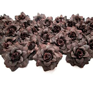 """(100) Silk Brown Roses Flower Head - 1.75"""" - Artificial Flowers Heads Fabric Floral Supplies Wholesale Lot for Wedding Flowers Accessories Make Bridal Hair Clips Headbands Dress 17"""