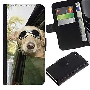 Be Good Phone Accessory // Caso del tirón Billetera de Cuero Titular de la tarjeta Carcasa Funda de Protección para Apple Iphone 4 / 4S // Pilot Sunglasses Car Window Wind