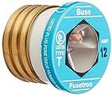 Bussmann T-12 12 Amp Type T Time-Delay Dual-Element Edison Base Plug Fuse, 125V UL Listed