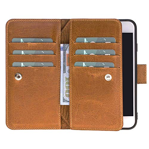 Custom Genuine Leather Handmade Book Style Wallet Case with Kickstand for iPhone Xs X 8 7 | 8 Plus | 7 Plus | Magnetic Detachable Case with Card Holders/ID Slot | Rome Camel