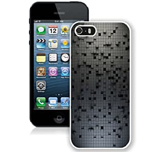 Fashion Custom Designed Cover Case For iPhone 5S Phone Case With 3D Black Lattice Pattern_White Phone Case
