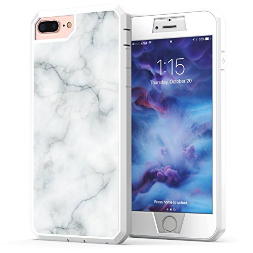 Marble iPhone 8 Plus Case, True Color White Marble [Stone Texture Collection] Heavy Duty Hybrid + 9H Tempered Glass 360° Protection [True Armor Series] - White (Classy Marble)