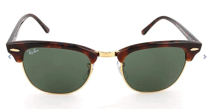 Ray-Ban RB3016 Clubmaster, Gafas de Sol, multicolor (Ebony-Arista/Crystal Green (W0365)), talla 51