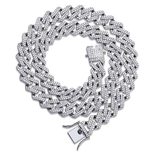 (TOPGRILLZ Hip Hop 14mm Simulated Lab Diamond Iced Out Miami Curb Link Choker Chain Necklace for Men (Silver 22