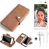 QUALITÄT PRODUCT for Sony Xperia C4 Protective Case Cover Mobile Phone bag protection Wallet Flip style made of Synthetic Leather Brown for Sony Xperia C4 + set of in ear headphones includ