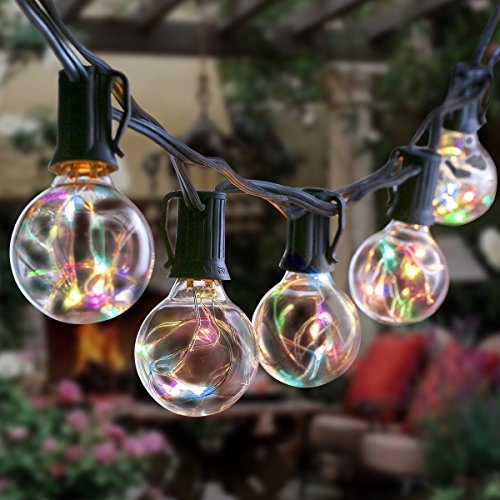 Decorative Party Tent (LED G40 String Light With Clear Bulbs, NuoYo 12ft Hanging Indoor/Outdoor Bulb String Lights 12LEDs Warm Globe Patio Lights Waterproof for Backyard Patio Cafe Bistro Wedding Party (Seven Color))