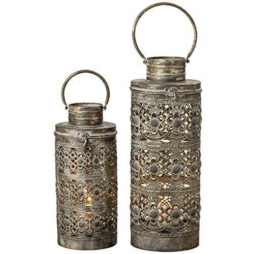WHW Whole House Worlds Moroccan Temple Lanterns, Luxury Floor Hurricanes, Set of 2, for LED or Wax Candles, Sealed Iron, Antiqued Patina, Hinged Top, 19 and 15 Inches, The Global Chic Collection (Morroccan Lanterns)