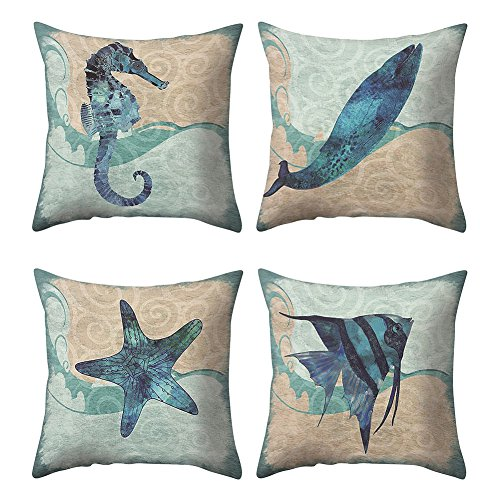 - Handfly Throw Pillow Case Mediterranean Vintage style Nautical Sea Theme Decorative Cotton Linen Throw Pillow covers 18x18,Set of 4,seahorse,whale,starfish,fish pattern