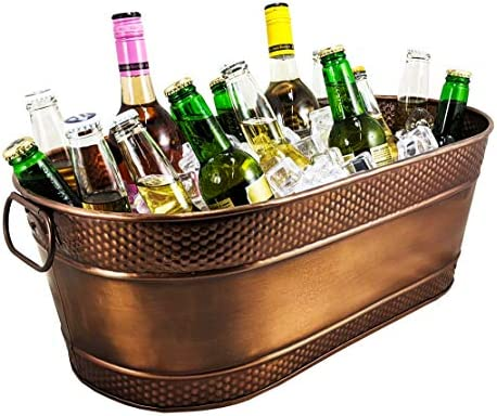 BREKX Colt Copper Finish Galvanized Hammered Beverage Tub - 17 Quart