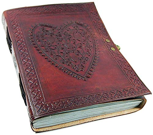 Genuine Leather Large Vintage Heart Embossed Leather Journal/Instagram Photo Album (Handmade paper) - Coptic Bound with Lock -