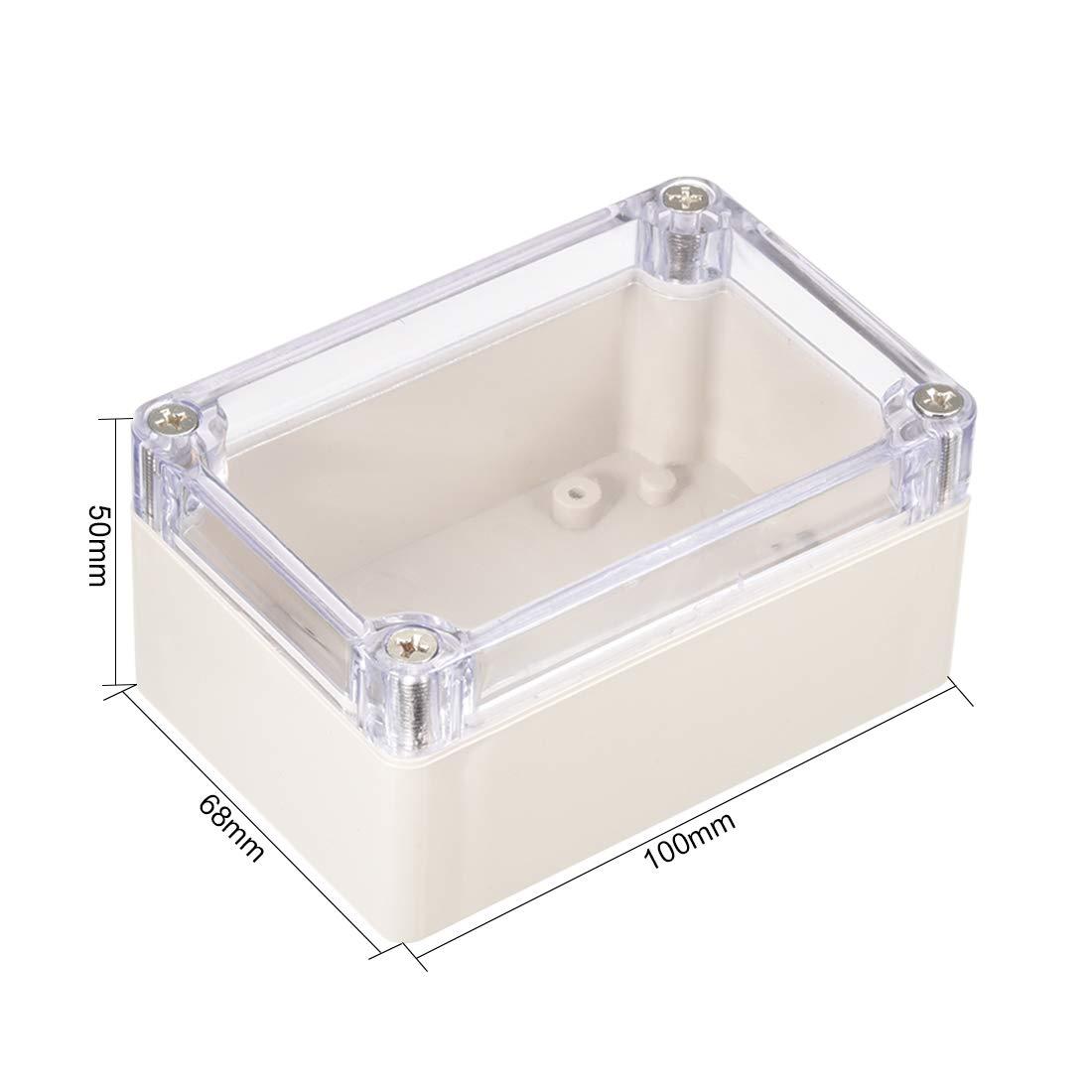 uxcell 3.9 inches x 2.7 inches x 2 inches 100mm x 68mm x 50mm ABS Junction Box Universal Project Enclosure w PC Transparent Cover