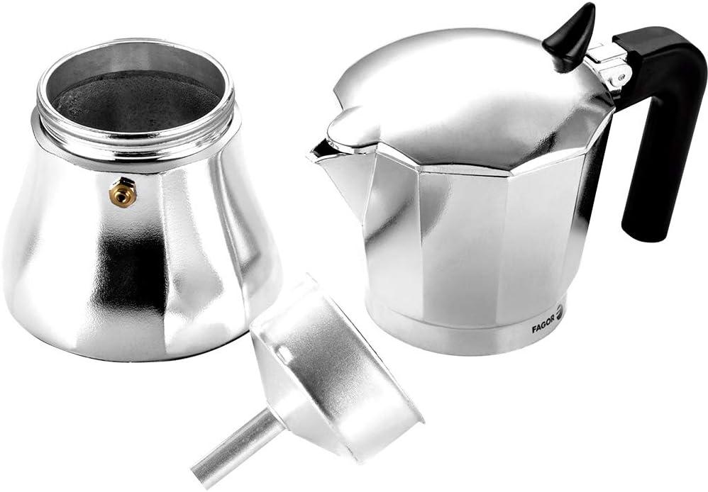 Junta de Gran Durabilidad Pomo y Mangos Fabricados en Nylon Muy Resistente Toque Frio Compatible con INDUCCI/ÓN. La cafetera CUPY est/á Fabricada en Aluminio Extra Grueso 6 Tazas Fagor CUPY
