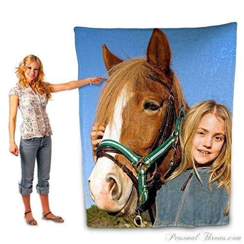 Custom Personalized Plush Fleece Photo Blanket (60 by 80 Inches)