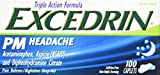 Excedrin PM Headache Pain Reliever Caplets, 100 Count - Buy Packs and SAVE (Pack of 4)