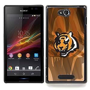- Angry Tiger - - Cubierta del caso de impacto con el patr??n Art Designs FOR Sony Xperia C S39h C2305 Queen Pattern