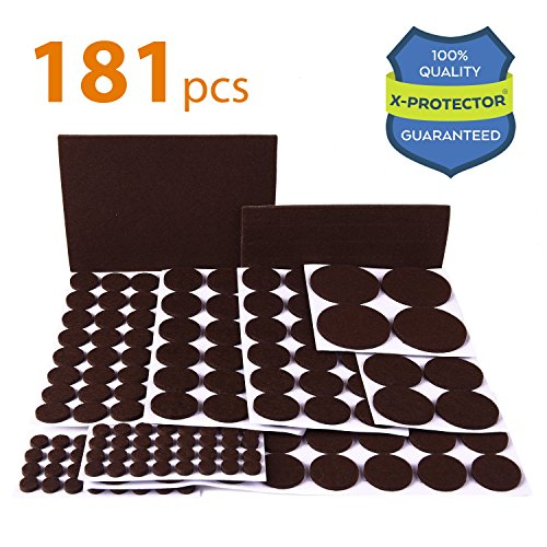 X-PROTECTOR Premium ULTRA LARGE Pack Felt Furniture Pads 181 piece! Felt Pads Furniture Feet ALL SIZES – Your Best Wood Floor Protectors. Protect Your Hardwood Flooring with 100% - Desk Buttons Felt