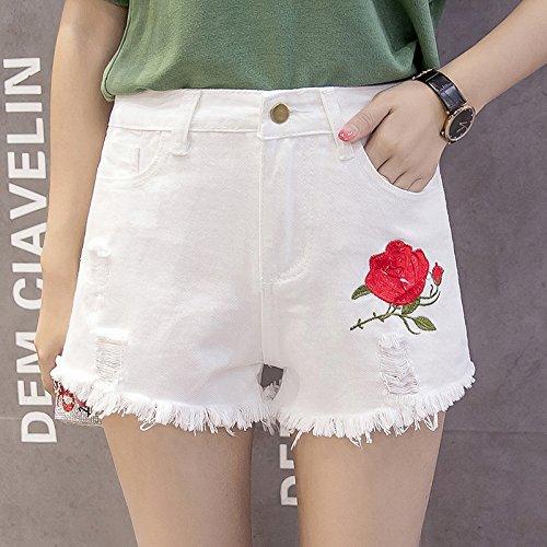 Sra Legs Wind Mujeres Jeans Holes Bordados White Shorts Faldas Señora Embroidery Alta Verano Cintura Yyjzjw Wide HPEq11