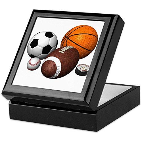 CafePress - Sports Balls - Keepsake Box, Finished Hardwood Jewelry Box, Velvet Lined Memento Box