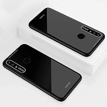 KSHOP Compatible con Funda para Xiaomi Redmi 7, Estuche Carcasa Forro Ultra Delgada TPU Parachoques, Trasera de Vidrio Templado - Negro