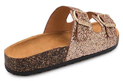 Double Footbed Glitter Summer Toe Flat Sandals Cozy Strap Buckle Fashion OLIVIA Rosegold Open K Women's qTHx1wZX
