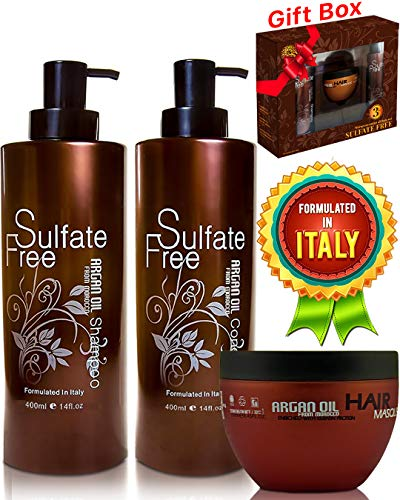 Moroccan Argan Oil Shampoo Conditioner and Hair Mask No Sulfate Organic Set Best for Damaged, Dry, Curly or Frizzy Hair - Thickening for Fine/Thin Hair Safe for Color and Keratin Treated Hair