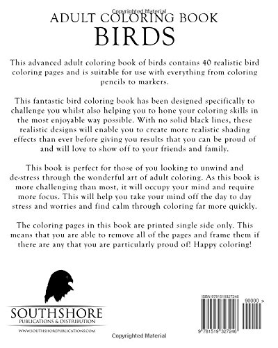 Amazon Adult Coloring Book Birds Advanced Realistic Bird For Adults Books Volume 5 9781519327246 Mia