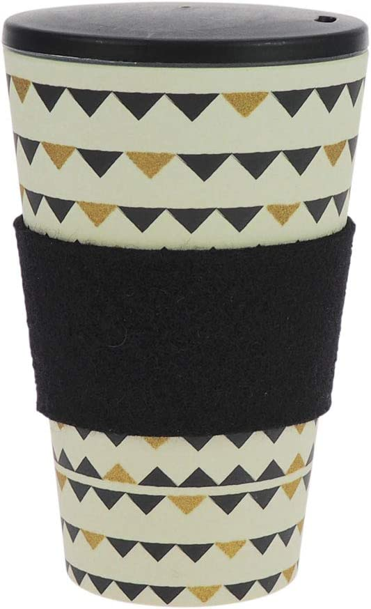 ebos lucky charm Coffee-to-Go mug bamboo | incl. screw cap, grip ring | coffee mug, beverage container | ecologically, environmentally friendly | (Gardenparty Black and Gold)