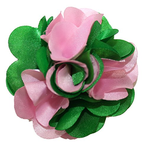 Ted and Jack - Classic Repp Two Tone Silky Flower Lapel Pin Boutonniere (Green and Pink)