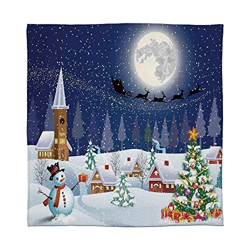 - YOLIYANA Warm Flannel Blanket,Christmas Decorations,for Folding Bed Crib, Stroller, Travel, Couch and Bed,Size Throw/Twin/Queen/King,Winter Season Snowman Xmas Tree Santa Sleigh