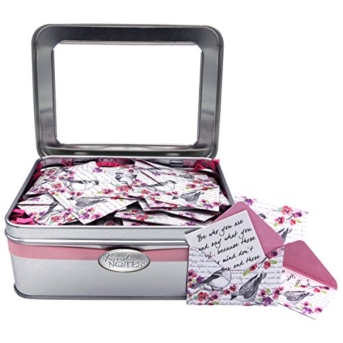 KindNotes Tin Keepsake Gift Box with Love Messages (for Couples) - Birds and Flowers