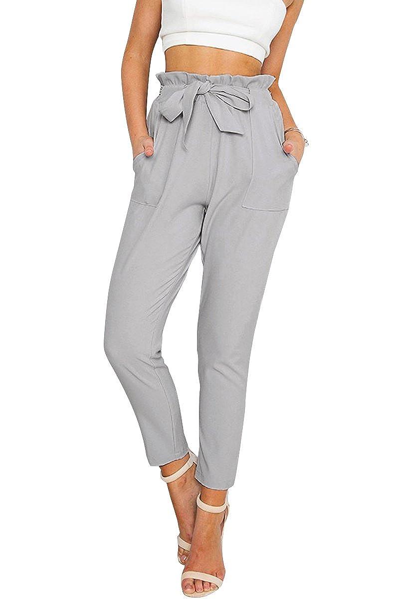 Simplee Apparel le donne in alto alla vita regolare occasionale chiffon harem matita pantaloni cordoncino vita i pantaloni BT070