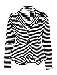 Forever Womens Long Sleeves Stripe Print Peplum Button Blazer