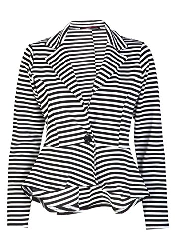 Forever Womens Long Sleeves Stripe Print Peplum Button Blaze