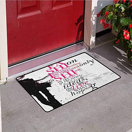 GloriaJohnson Eiffel Tower Universal Door mat Woman Figure in Paris in Autumn Inspirational Words Vogue Theme Art Print Door mat Floor Decoration W23.6 x L35.4 Inch Black Pink