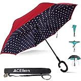 ACEIken Inverted Umbrella Inside Out Upside Down Umbrella Windproof Reverse Umbrella for Women with UV Protection, Upside Down Umbrella with C-Shaped Handle for Car Use