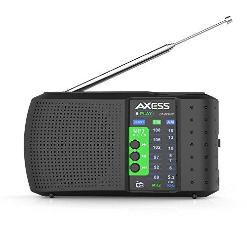 AXESS PR3206-BK Portable Alarm Clock Radio, Black by Axess