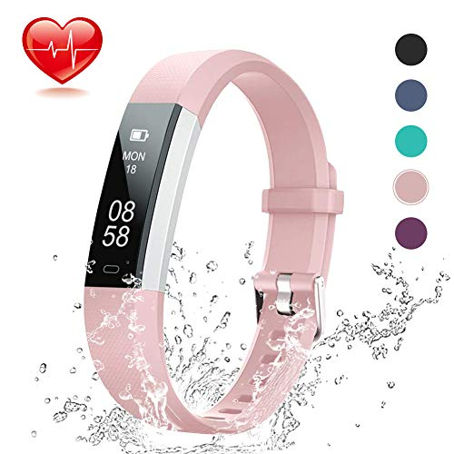 Lintelek Fitness Tracker, Slim Activity Tracker with Heart Rate Monitor, IP67 Waterproof Step Counter, Calorie Counter, Pedometer for Android & iOS Smartphone for Kids Women (Light Pink)