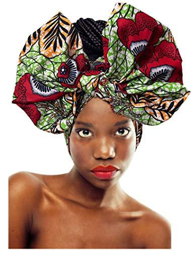 Print Jersey Wrap - L'VOW Women' Soft Stretch Headband Long Head Wrap Scarf Turban Tie (Y-003)
