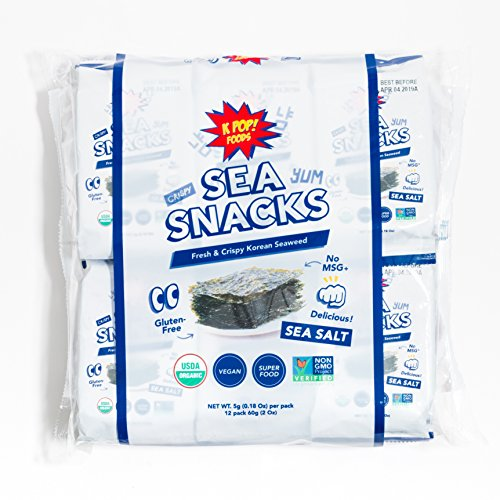 (KPOP Sea Snacks - Premium Seaweed Snack (12 Count, 5 grams) Roasted and Lightly Salted - Certified Organic, Vegan, and Non-GMO, from KPOP Foods (12 pack))