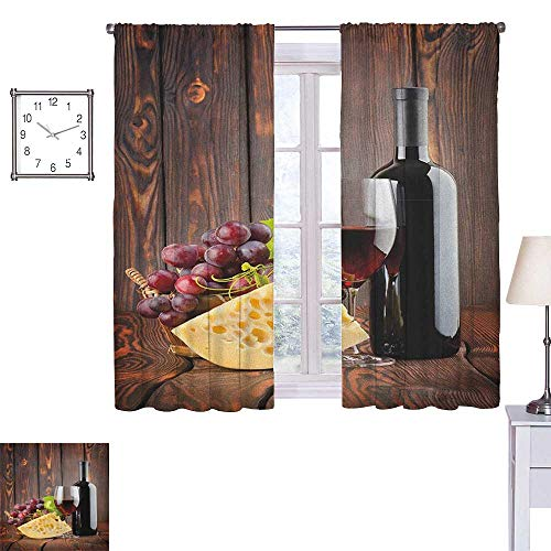 Superlucky Wine Thermal Insulating Blackout Curtain Red Wine Cabernet Bottle and Glass Cheese and Grapes on Wood Planks Print 55