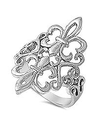 Fleur De Lis Filigree Heart Cutout Ring New .925 Sterling Silver Band Sizes 4-12