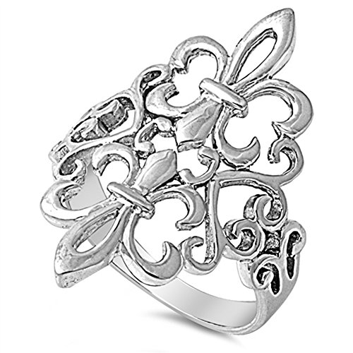 Fleur De Lis Filigree Heart Cutout Ring New .925 Sterling Silver Band Size 10