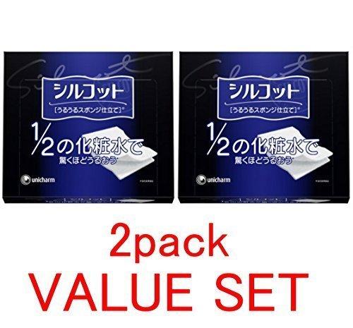 Unicharm Silcot Uruuru Sponge Facial Cotton, 1.8 Ounce(40 Sheets) X 2 Pack Value Set -