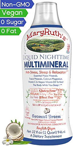 Liquid Sleep Multimineral by MaryRuth (Coconut) Vegan Vitamins, Minerals, Magnesium, Calcium & MSM | Natural Sleep & Stress Aid | Muscle Relaxation | NO Melatonin | Non-GMO Paleo 0 Sugar 0 Fat 32oz For Sale